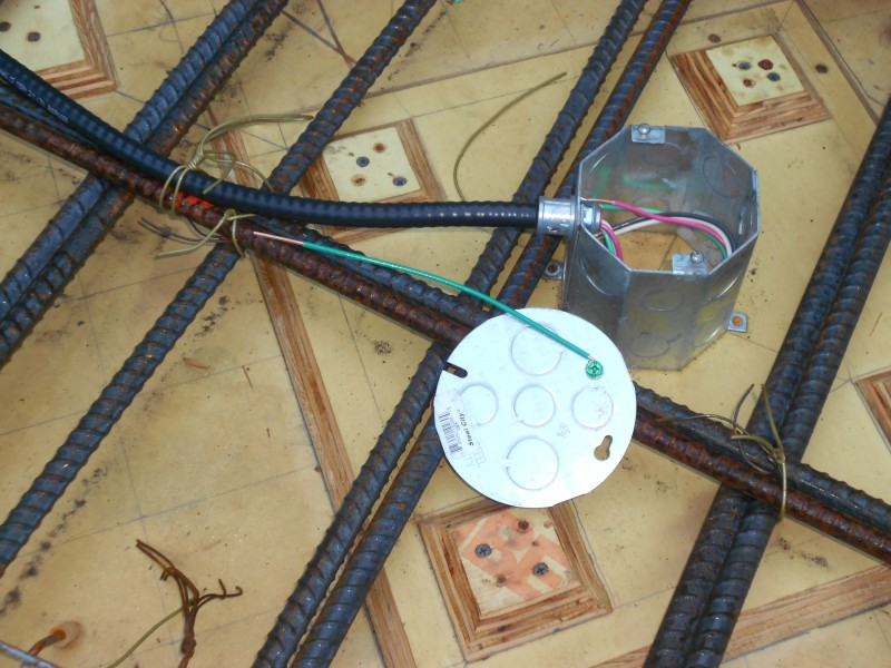 Octagon box with grounding wire attached to the cover.