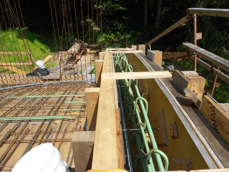 Retaining wall curb steel detail.