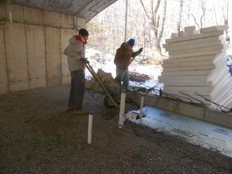 Ethan and Terence backfilling the shower stall styrofoam.