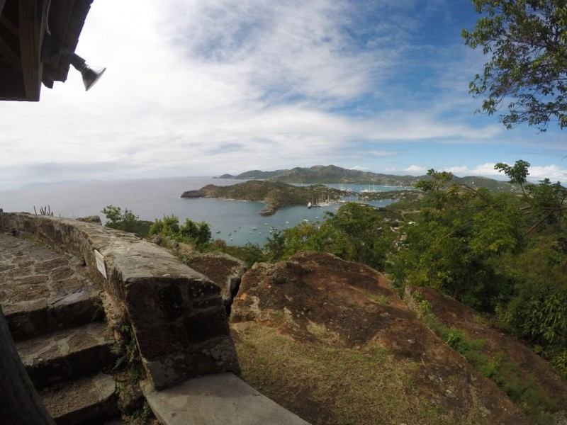View of English harbor on Antigua where Nelson's Dockyard still stands. The picture is taken from Shirley Heights.