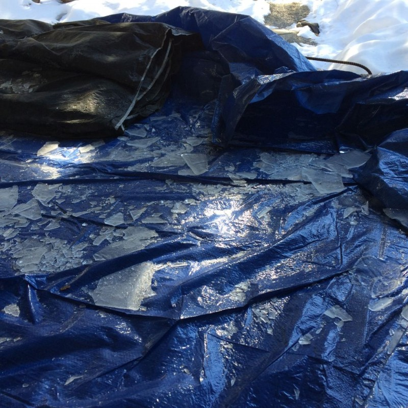 Tarp keeps cleanup to a minimum.