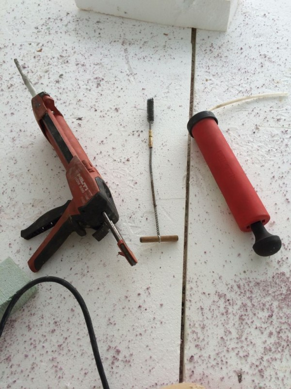 Epoxy dispenser, reamer(wire brush) and blower.