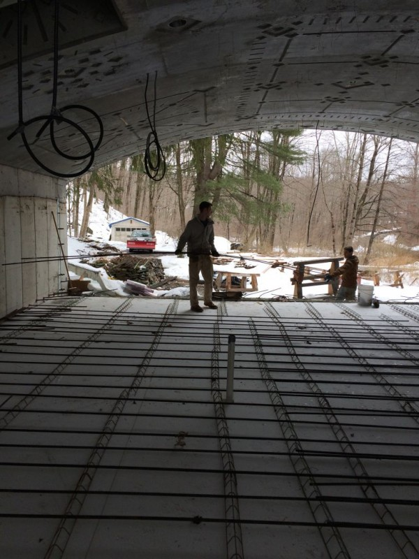 Laying out the rebar.