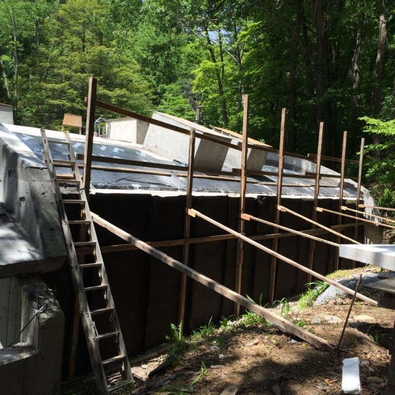 East side waterproofing well under way.