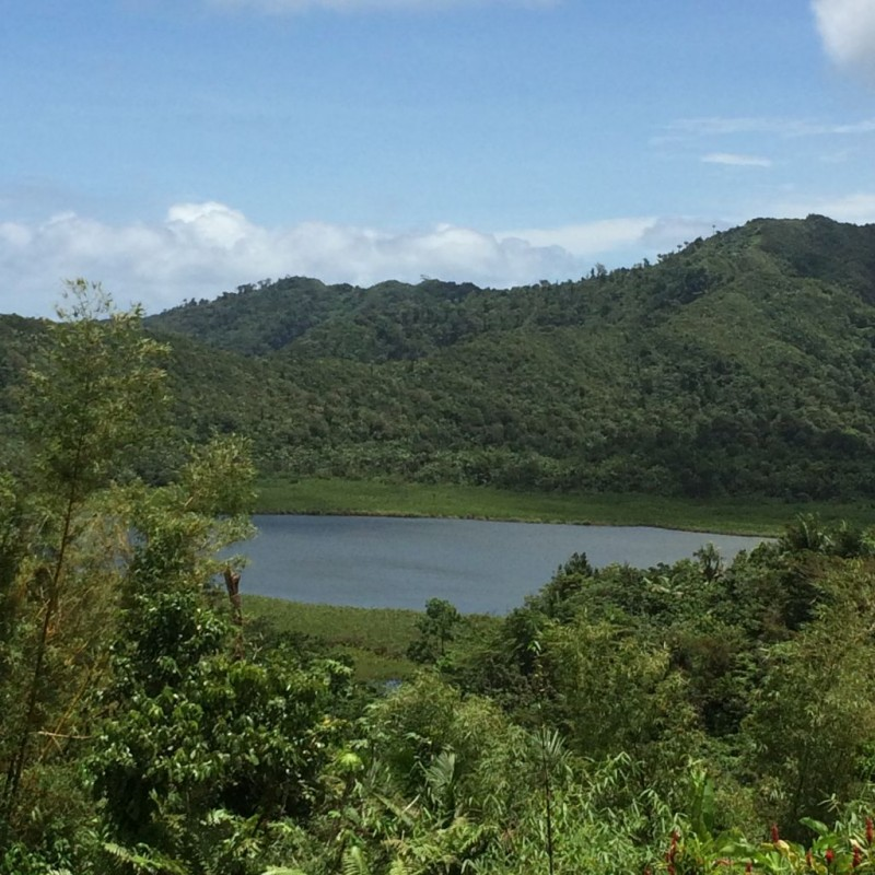 Volcanic crater lake on top of the mountain.