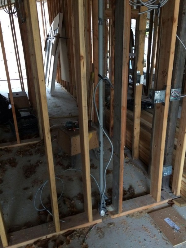 Home runs held in place with pic pipe to be removed later.