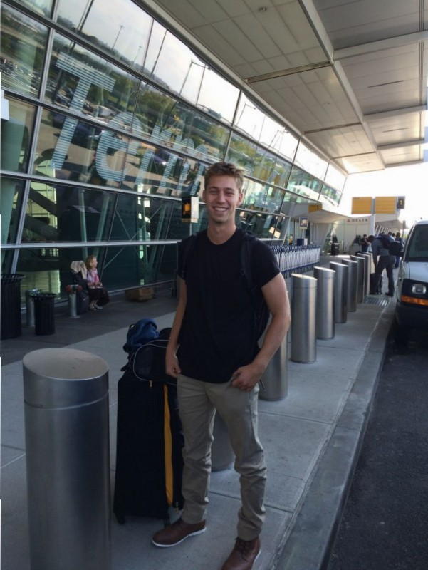 Ethan outside JFK waiting to go to England.