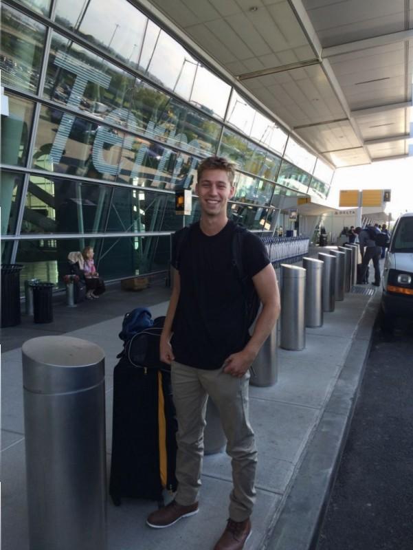 Ethan outside JFK waiting to go to England.