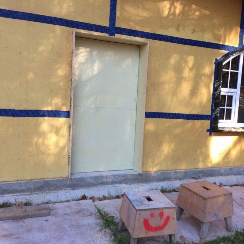 Temporary door into the Hobbit house.