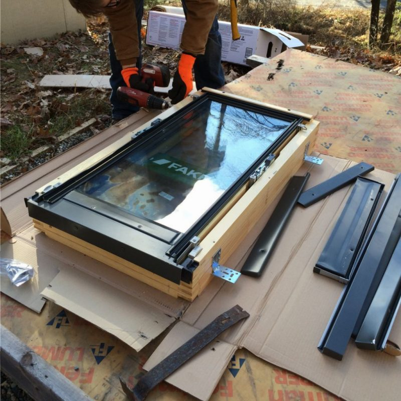 Prepping the final skylight.